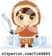 Clipart Of A Happy Eskimo Boy Holding A Snow Saw By Blocks Of Ice Royalty Free Vector Illustration