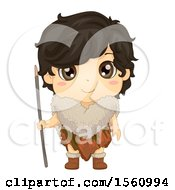 Clipart Of A Happy Ice Age Boy Royalty Free Vector Illustration