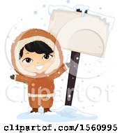 Clipart Of A Happy Eskimo Boy By A Blank Sign Royalty Free Vector Illustration