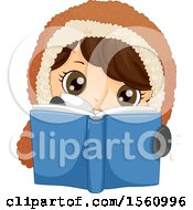 Clipart Of A Happy Eskimo Boy Reading A Book Royalty Free Vector Illustration