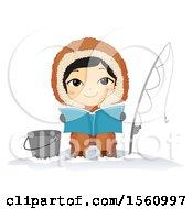 Happy Eskimo Boy Reading And Ice Fishing