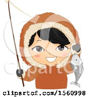 Clipart Of A Happy Eskimo Boy Holding A Pole And Fish Royalty Free Vector Illustration