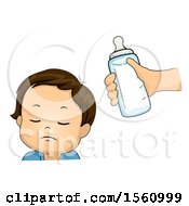 Clipart Of A White Boy Toddler Refusing A Milk Bottle Royalty Free Vector Illustration