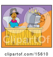 Woman Sitting At A Desk And Watching Her Computer Go Up In Flames Clipart Illustration