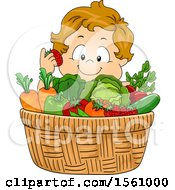 White Toddler Boy With A Basket Of Produce