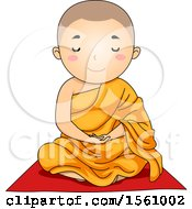 Clipart Of A Monk Boy Meditating Royalty Free Vector Illustration by BNP Design Studio