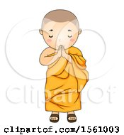 Clipart Of A Monk Boy Greeting Royalty Free Vector Illustration by BNP Design Studio