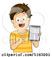 Clipart Of A Brunette White Boy Holding A Tablet With Articles On The Screen Royalty Free Vector Illustration by BNP Design Studio