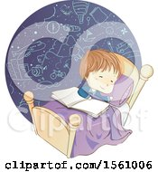 Clipart Of A Sketched Boy Dreaming With A Book On His Bed Royalty Free Vector Illustration
