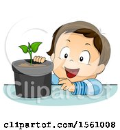 Clipart Of A Toddler Boy Observing A Potted Plant Royalty Free Vector Illustration