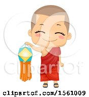 Clipart Of A Monk Boy Holding A Vesak Lantern Royalty Free Vector Illustration