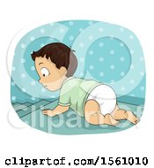 Clipart Of A Baby Boy Crawling Towards Stairs Royalty Free Vector Illustration