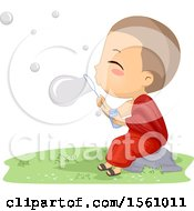 Clipart Of A Monk Boy Blowing Bubbles Royalty Free Vector Illustration