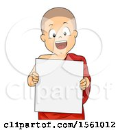 Poster, Art Print Of Monk Boy Holding A Blank Sign