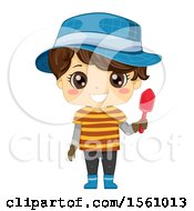 Clipart Of A Brunette Boy Holding A Garden Shovel And Wearing A Hat Royalty Free Vector Illustration