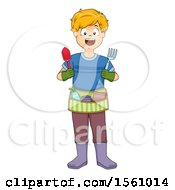 Clipart Of A Boy With A Gardening Tool Belt Royalty Free Vector Illustration