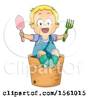 Clipart Of A Blond Toddler Boy Holding Gardening Tools On A Pot Royalty Free Vector Illustration