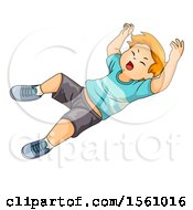 Clipart Of A Boy Falling Royalty Free Vector Illustration