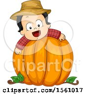 Clipart Of A Toddler Boy On A Pumpkin Royalty Free Vector Illustration