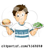 Clipart Of A Boy Holding A Burger In One Hand And A Plate Of Broccoli In The Other Royalty Free Vector Illustration