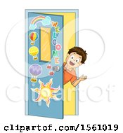 Boy Looking Out Of A Class Room Door And Welcoming