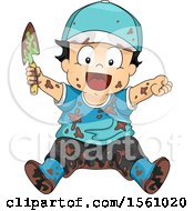 Clipart Of A Happy Muddy Toddler Boy Holding A Garden Spade Royalty Free Vector Illustration by BNP Design Studio