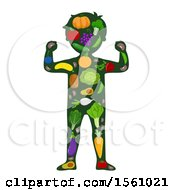 Silhouetted Flexing Boy With A Produce Body