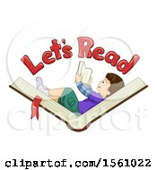 Boy Laying On And Holding A Book Under Lets Read Text