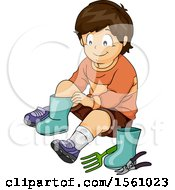 Clipart Of A Boy Putting On Gardening Boots Royalty Free Vector Illustration
