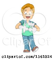 Boy Holding Paper Cutout Vegetables