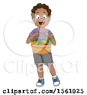 Poster, Art Print Of Happy Boy Holding A Basket Of Produce