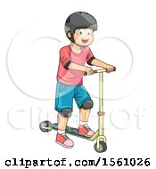 Clipart Of A Boy Wearing A Helmet And Playing With A Scooter Royalty Free Vector Illustration