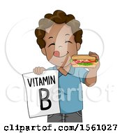 Clipart Of A Boy Holding A Vitamin B Sign And Holding A Sandwich Royalty Free Vector Illustration