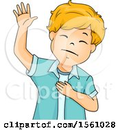 Clipart Of A Boy Raising His Hand And Holding One Over His Heart Royalty Free Vector Illustration by BNP Design Studio