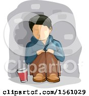 Clipart Of A Homeless Boy With A Glass For Alms Royalty Free Vector Illustration