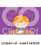 School Boy Writing Poetry With Icons And Text On Purple