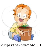 Clipart Of A Toddler Boy Hugging A Potted Plant Royalty Free Vector Illustration