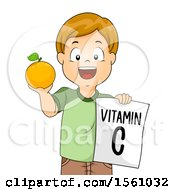 Clipart Of A Boy Holding A Vitamin C Sign And Holding Up An Orange Royalty Free Vector Illustration