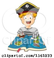 Clipart Of A Pirate Boy With A Pop Up Ship And Map Book Royalty Free Vector Illustration by BNP Design Studio