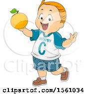 Clipart Of A Boy Wearing A Vitamin C Shirt And Holding Up An Orange Royalty Free Vector Illustration