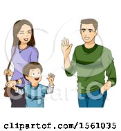 Clipart Of A Boy Holding Hands With His Mom And Waving To His Dad Royalty Free Vector Illustration
