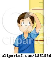 Clipart Of A Short Boy Measuring His Height Over A Ruler Royalty Free Vector Illustration