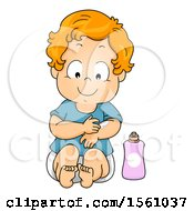 Clipart Of A Toddler Boy Applying Lotion Royalty Free Vector Illustration