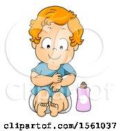 Poster, Art Print Of Toddler Boy Applying Lotion