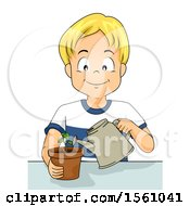 Clipart Of A Boy Watering A Potted Plant Royalty Free Vector Illustration