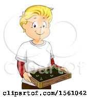 Clipart Of A Boy Holding A Seed Bed With Sprouts Royalty Free Vector Illustration