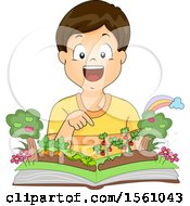 Clipart Of A Boy Over A Pop Up Garden Book Royalty Free Vector Illustration