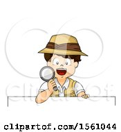 Clipart Of A Boy Explorer Holding A Magnifying Glass Over A Sign Royalty Free Vector Illustration by BNP Design Studio