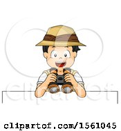 Clipart Of A Boy Explorer Holding Binoculars Over A Sign Royalty Free Vector Illustration