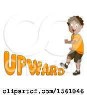 Boy Walking Upward With Text